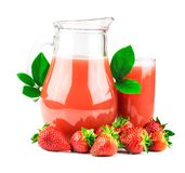 Strawberries juice with fresh strawberries. Strawberries juice in glass jug with fresh strawberries isolated on white background Stock Images