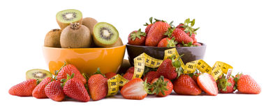 Strawberries and kiwi Stock Images