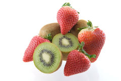 Strawberries and Kiwi. Arranged on white background with soft shadow Stock Image