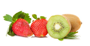 Strawberries an kiwi fruits Royalty Free Stock Photos