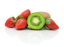 Strawberries and  kiwi on a white background closeup with reflec Royalty Free Stock Photos