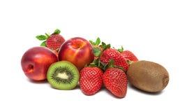 Strawberries, kiwis and nectarines isolated on white background. Horizontal photo stock images