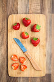 Strawberries  Knife Chopping Board Royalty Free Stock Photography