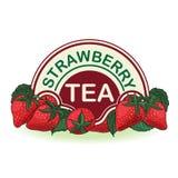 Strawberries, label for strawberry tea Stock Photos