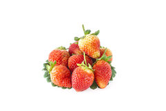 Strawberries  and  leaf  on  white Stock Photos