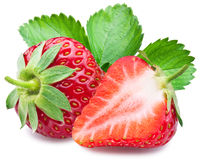 Strawberries with leaves. Royalty Free Stock Photography