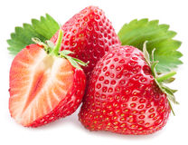Strawberries with leaves. Stock Image