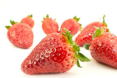 Strawberries with leaves. Stock Photos