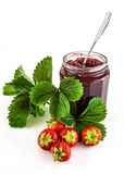 Strawberries with leaves and jam Royalty Free Stock Photos