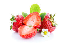Strawberries with leaves and slices isolated Royalty Free Stock Image