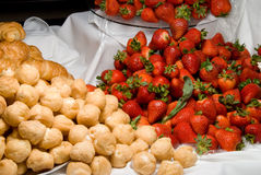 Strawberries and Lemon Puffs Royalty Free Stock Photos