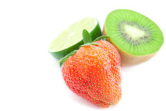 Strawberries,lime and kiwi Royalty Free Stock Photography