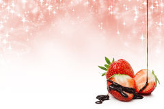 Strawberries and liquid chocolate with copy space Stock Photo
