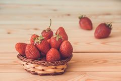 Strawberries in a little basket. Fresh strawberry Stock Photography