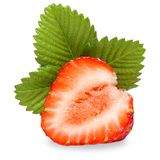 Strawberries macro with leaves Royalty Free Stock Photography