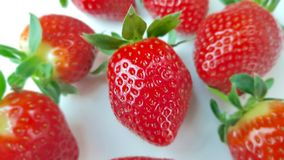 Strawberries in macro view. Several strawberries in macro view royalty free stock photo