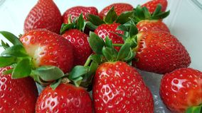 Strawberries in macro view. Several strawberries in macro view royalty free stock photos