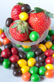 Strawberries with marbles Royalty Free Stock Photos