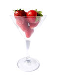 Strawberries in Martini Glass stock images