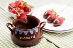 Strawberries with melted Chocolate Stock Photography