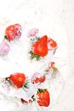 Strawberries in milk Royalty Free Stock Photo