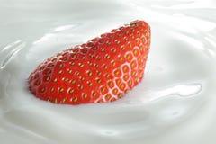 Strawberries in milk Stock Images