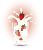 Strawberries and milk Royalty Free Stock Images