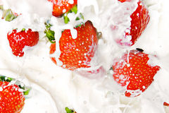 Strawberries & milk Stock Image