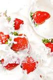 Strawberries & Milk Stock Photography