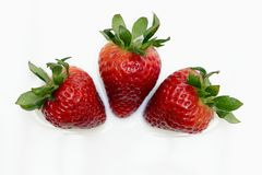 Strawberries. In milk background royalty free stock photography