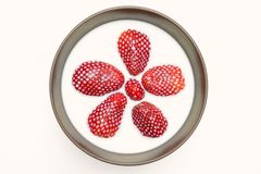 Strawberries in milk. In a bowl royalty free stock photo