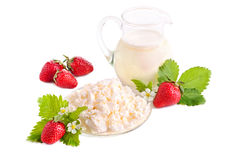 Strawberries, milk and cottage cheese Stock Photo