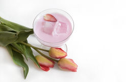 Strawberries milk shake and fresh fruit strawberry Royalty Free Stock Photography