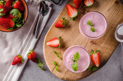Strawberries milkshake summer drink. Food styled photography Stock Photo