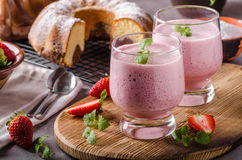 Strawberries milkshake summer drink. Food styled photography Stock Photography