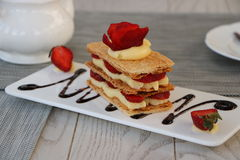 Strawberries mille feuille Royalty Free Stock Photos