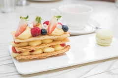 Strawberries mille feuille with custard Stock Photography
