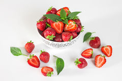 Strawberries and mint leaves Royalty Free Stock Photography