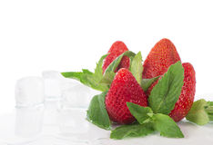 Strawberries and mint leaves Royalty Free Stock Photo
