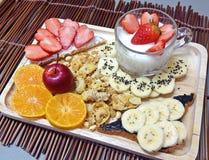 Strawberries mixed bananas Stock Image