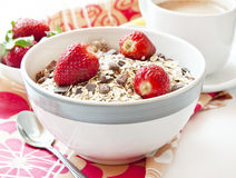 Strawberries with Muesli in a Bowl stock images