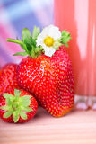 Strawberries napkin Stock Photo