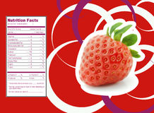 Strawberries nutrition facts. Creative Design for Strawberries with Nutrition facts label vector illustration