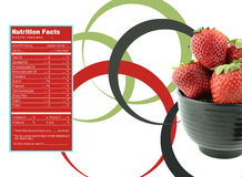 Strawberries nutrition facts. Creative Design for Strawberries with Nutrition facts label stock illustration