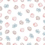 Strawberries, nuts and succulents signs seamless pattern. Hand drawn doodle symbols on white background. Cute food pattern for your design Royalty Free Stock Images