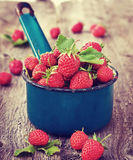 Strawberries in an old bucket Stock Photo