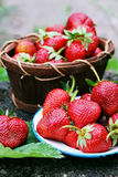 Strawberries in an old metal bowl Stock Photos