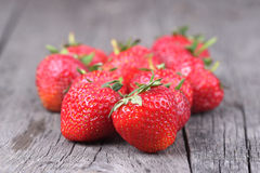 Strawberries on the old wood Royalty Free Stock Photo