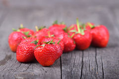 Strawberries on the old wood Royalty Free Stock Image