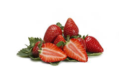 Strawberries and one cut. Royalty Free Stock Photo